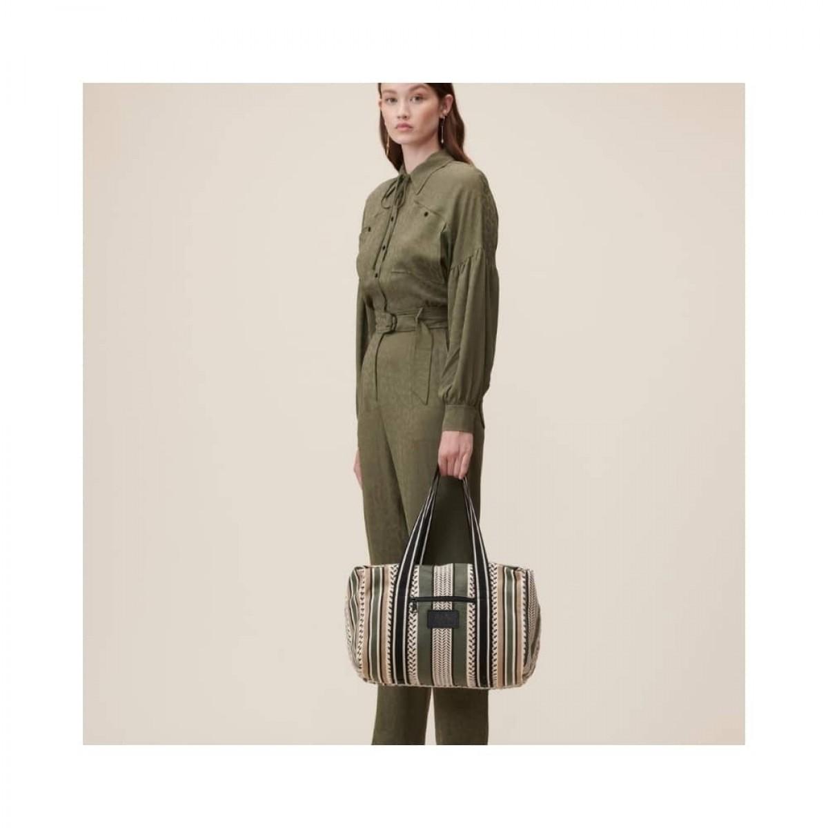 big bag muriel kufiya - olive/warm sand - model front