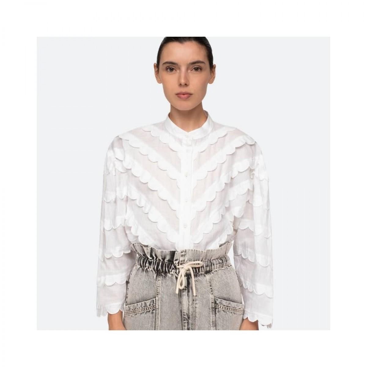shannon scallop skjorte - white