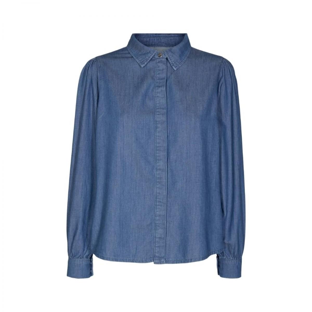 hepburn 70's skjorte - denim blue - front