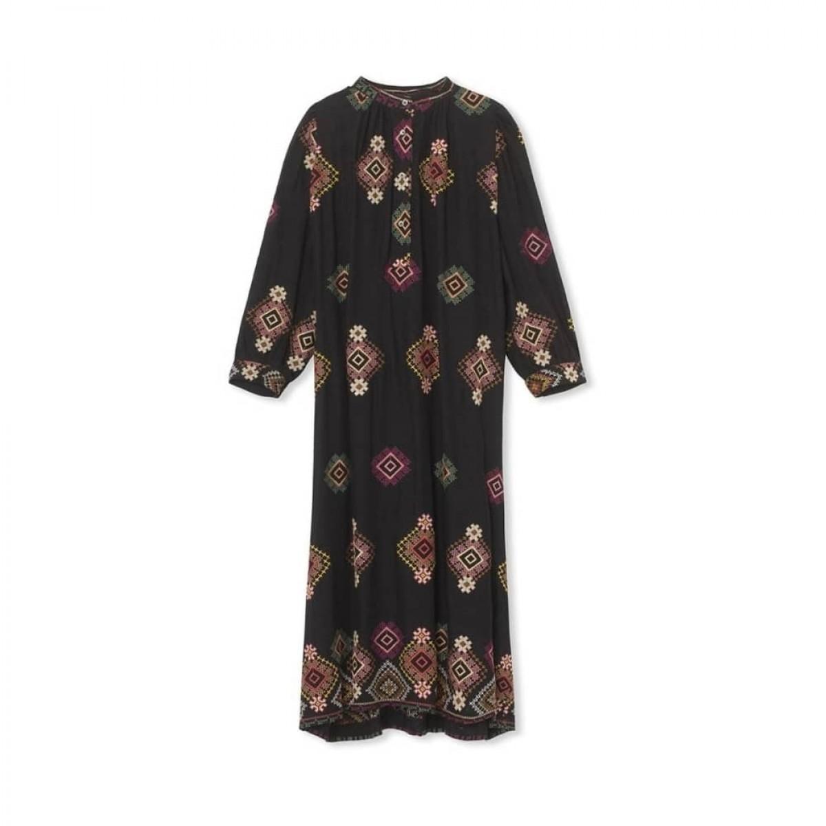signe embroidered kjole - black - front