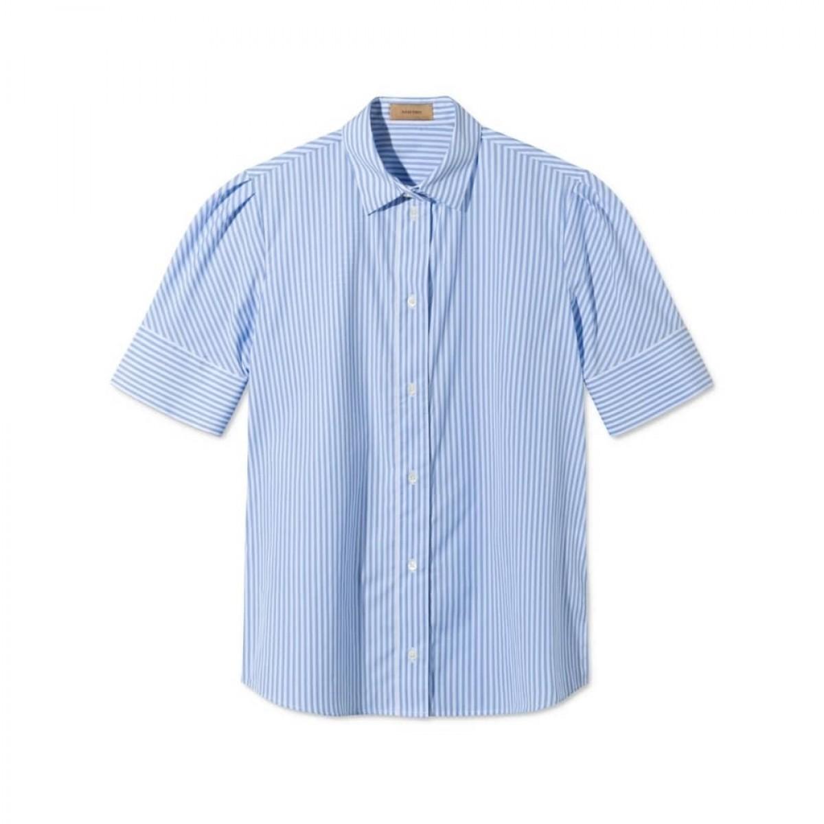 silje kort ærmet skjorte - light blue/white stripe