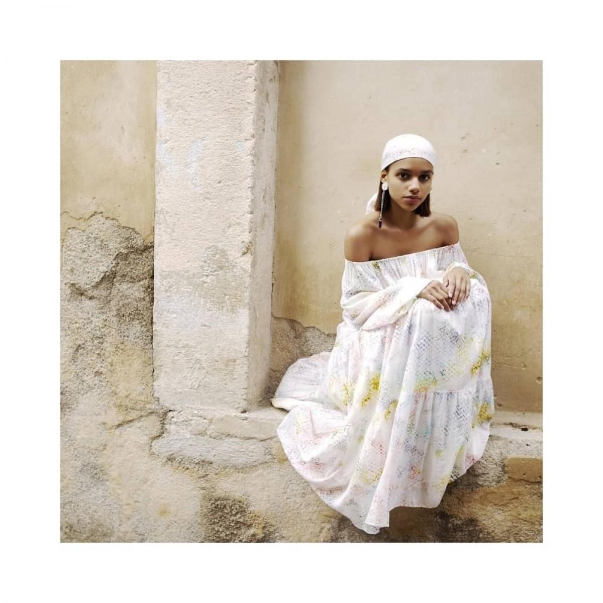 dorian kjole - rainbow kufiya - image front