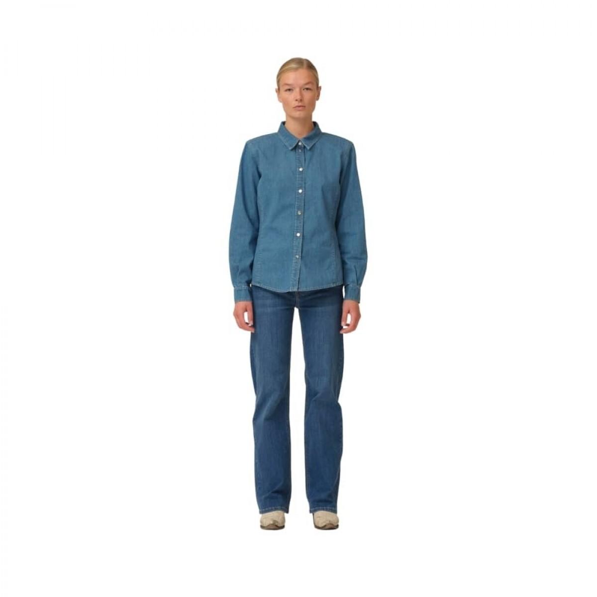 brown straight jeans - denim blue
