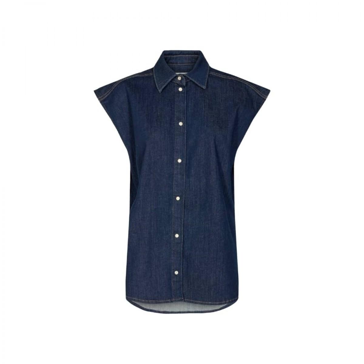 bowie oversize sl. less shirt - denim blue - front
