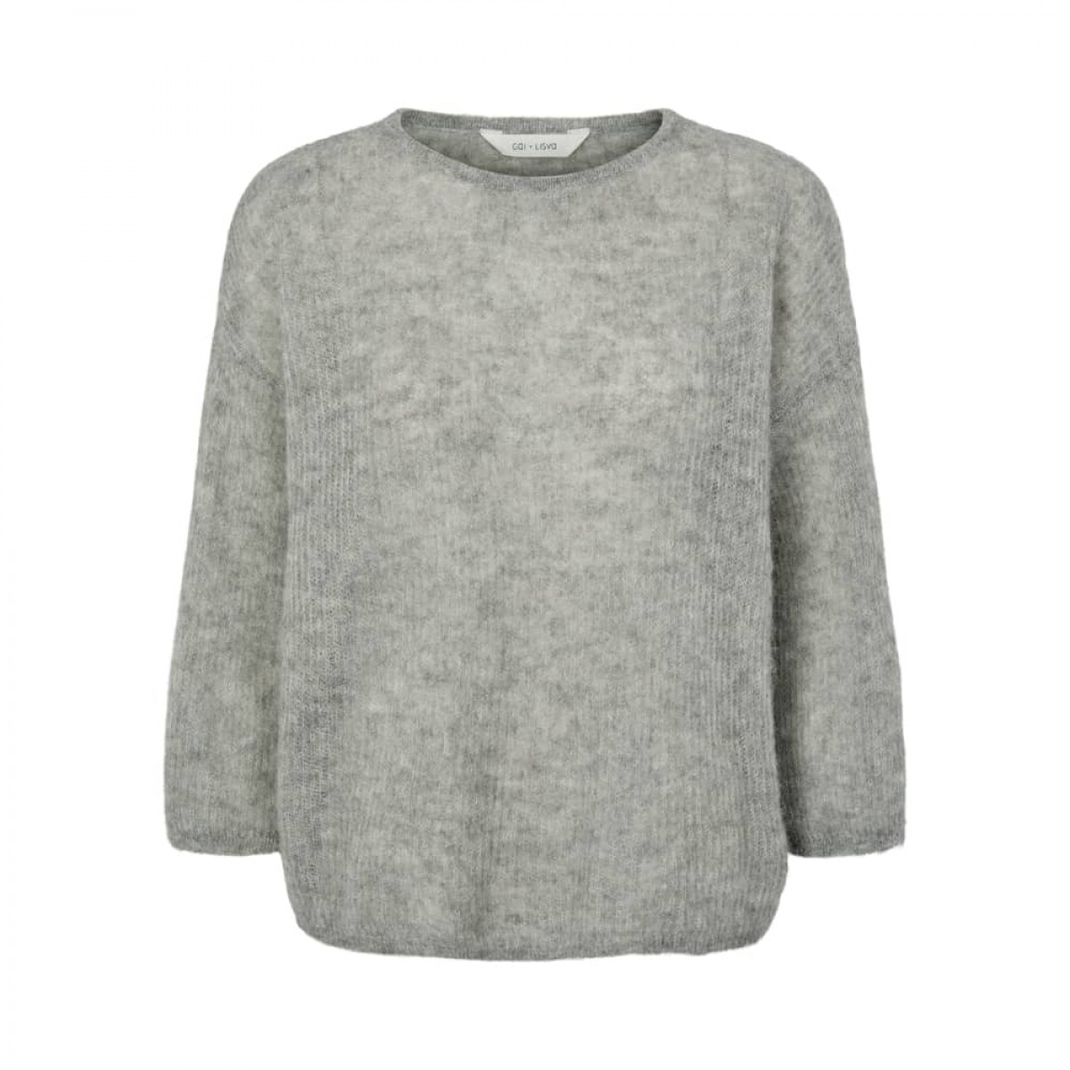 edda strik bluse - grey melange