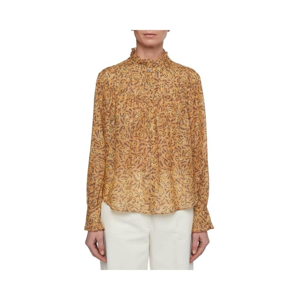 printet pomandére skjorte - camel