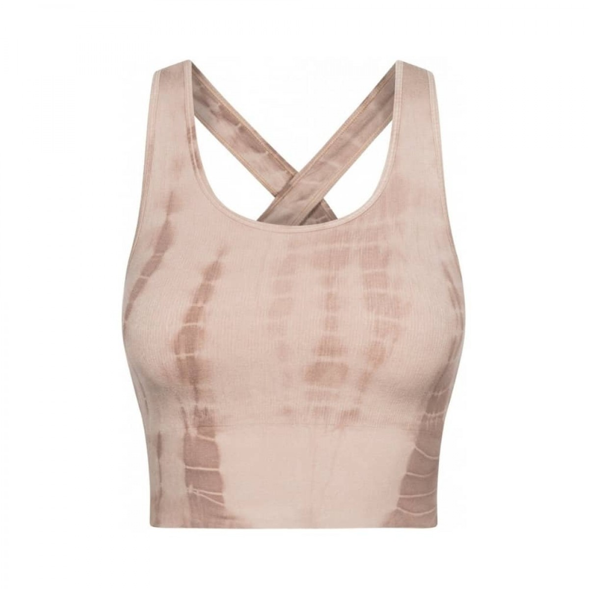lifa yoga top - coublestone with taupe tie dye
