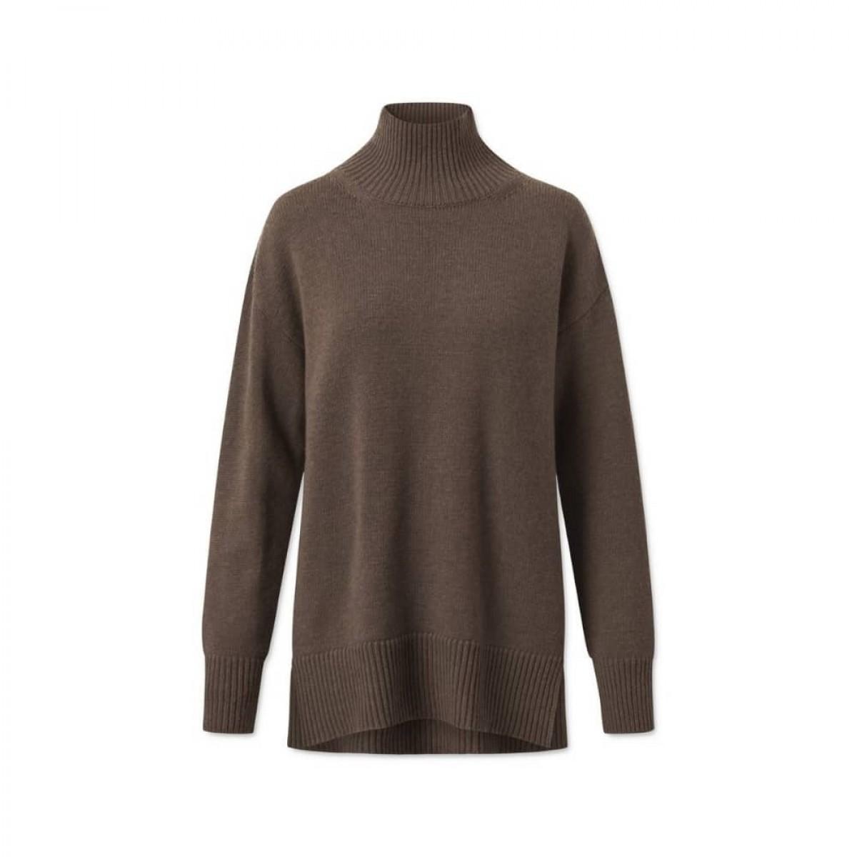 manny pullover - dark brown - front
