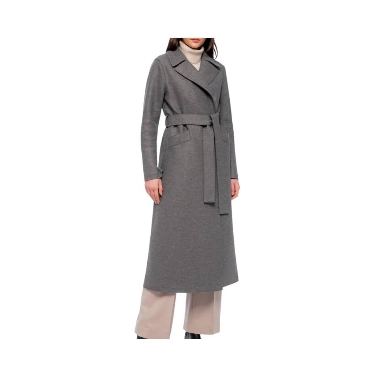 long maxi coat pressed wool - grey melange - model bælte