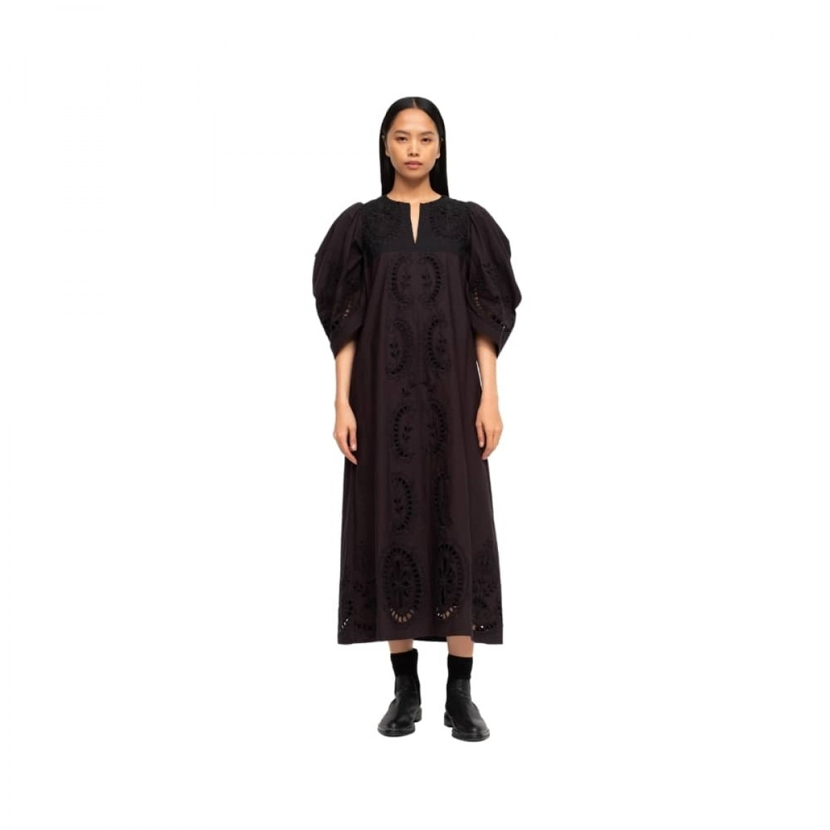 santos eyelet dress - black
