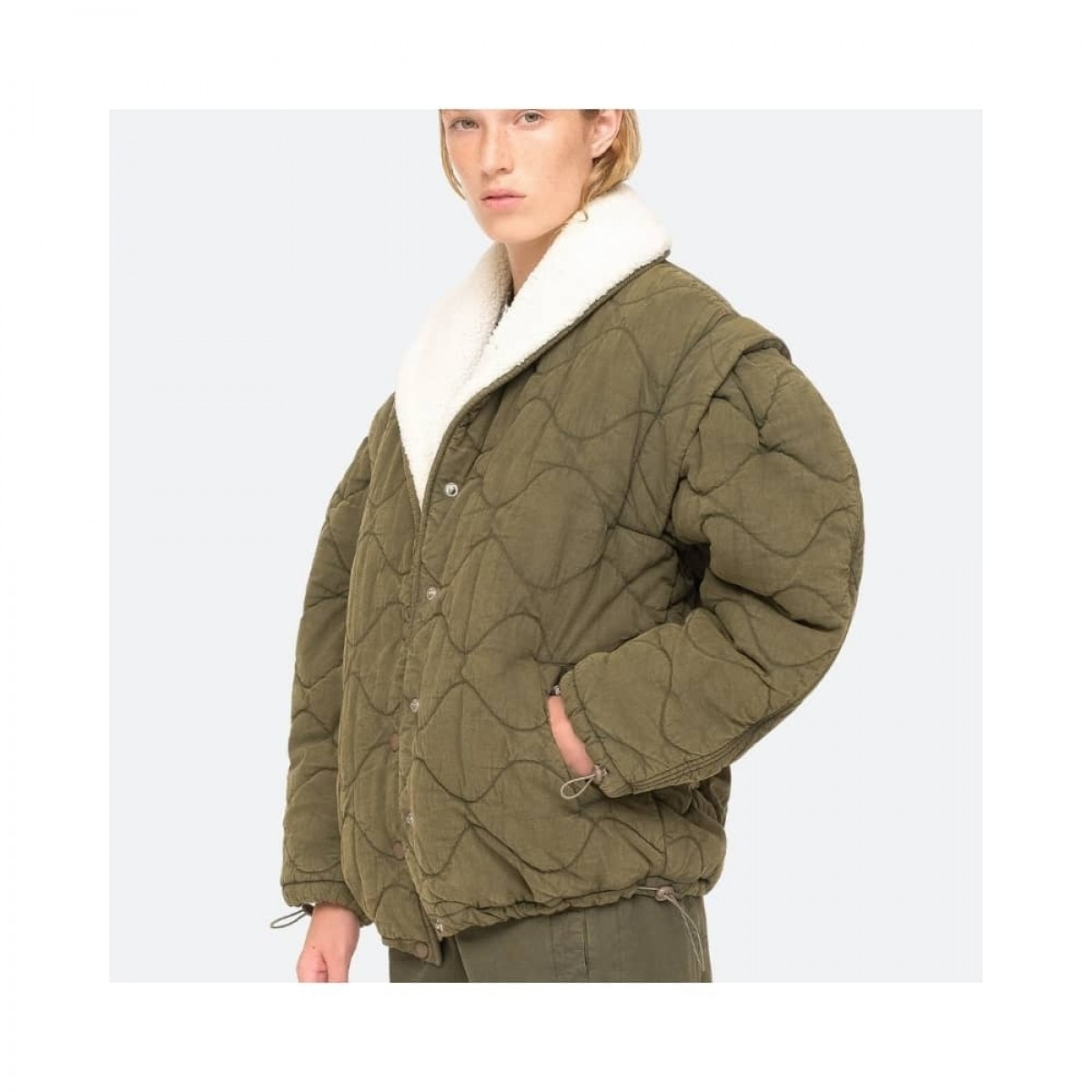 layla quilted jacket - army -model fra siden