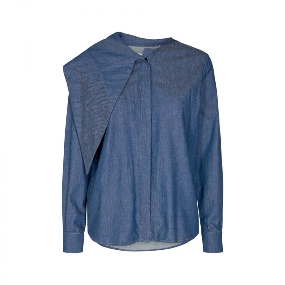 marston bow shirt - denim blue - front