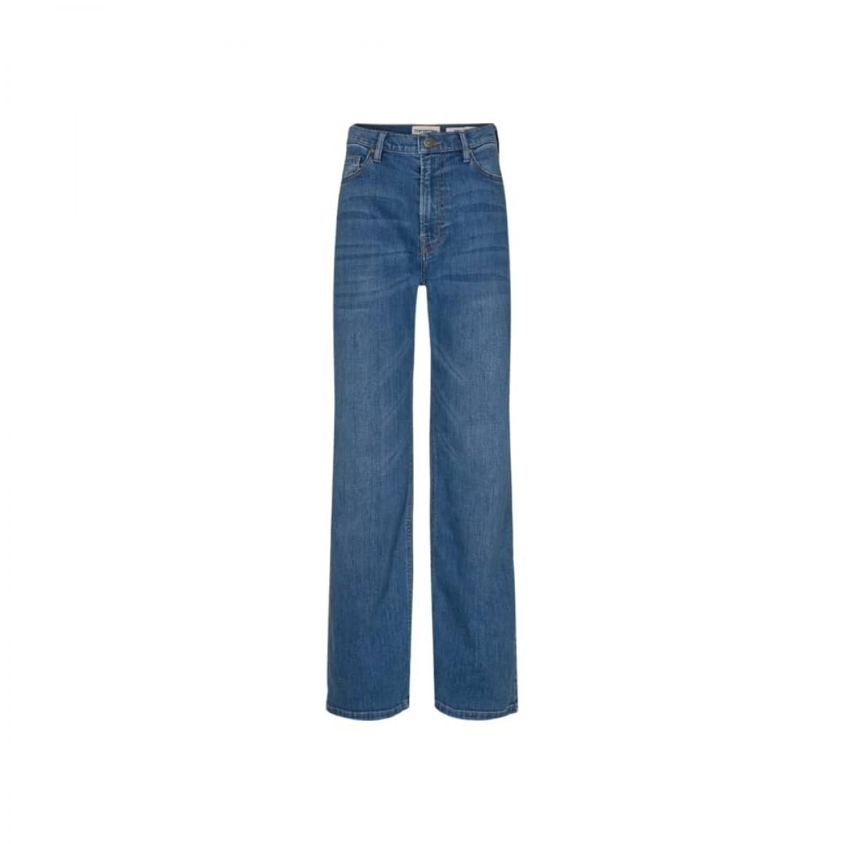 brown straight jeans - prato - denim blue - front