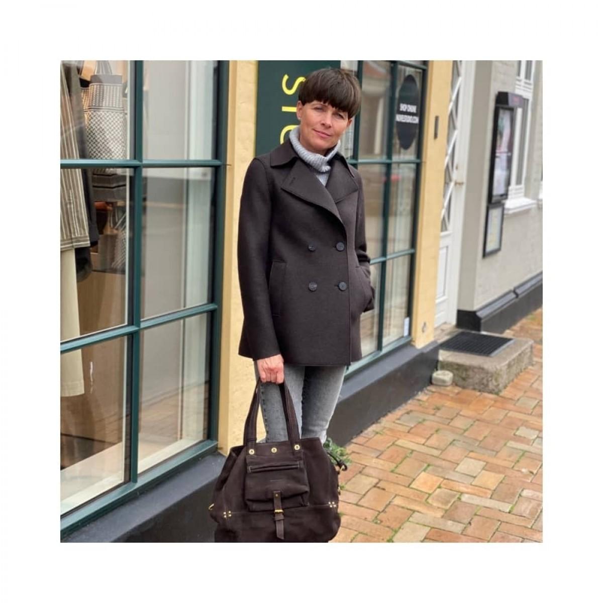 peacoat pressed wool jacket - dark brown