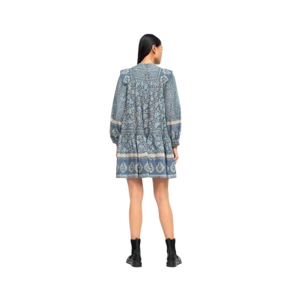 margo border tunic dress - ocean - m odel bagfra
