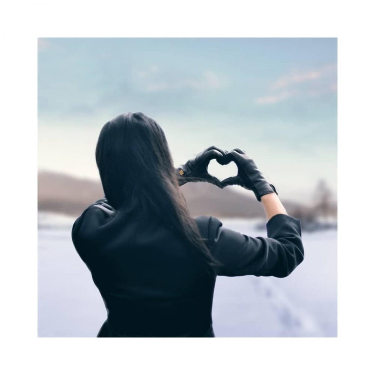 victoria handske - black - model hjerte