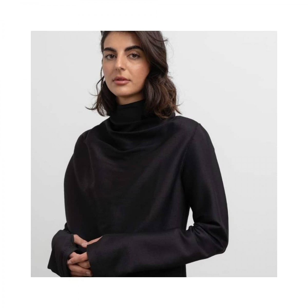 bella wool blouse - black