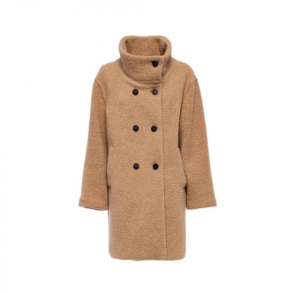 funnel collar coat bouclé - tan - front
