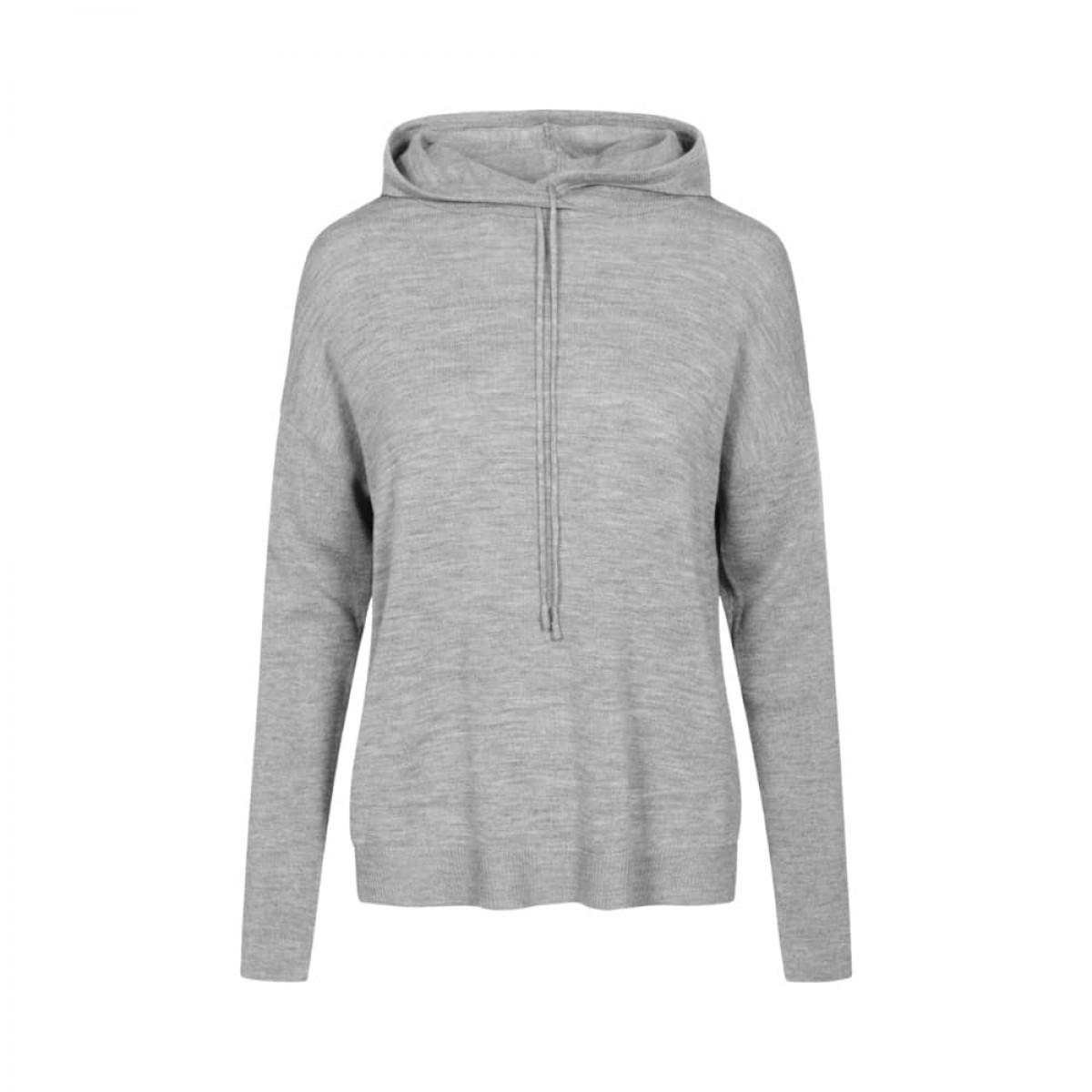 jenna merino hoodie - grey melange