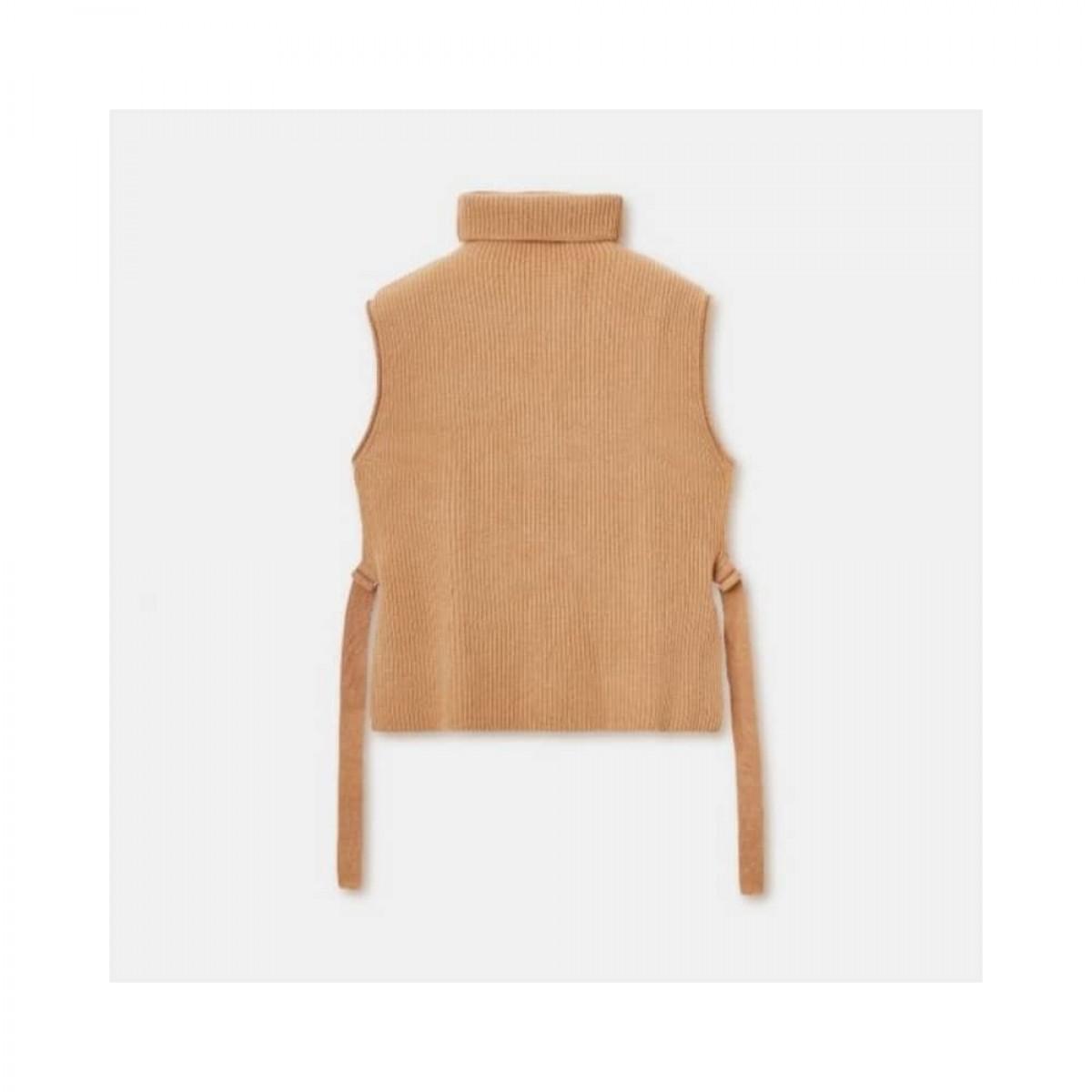 wool high neck gilet vest - camel - front