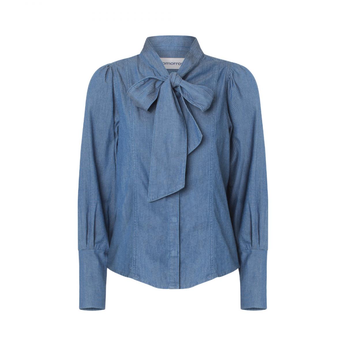 hepburn bow denim skjorte - denim blue