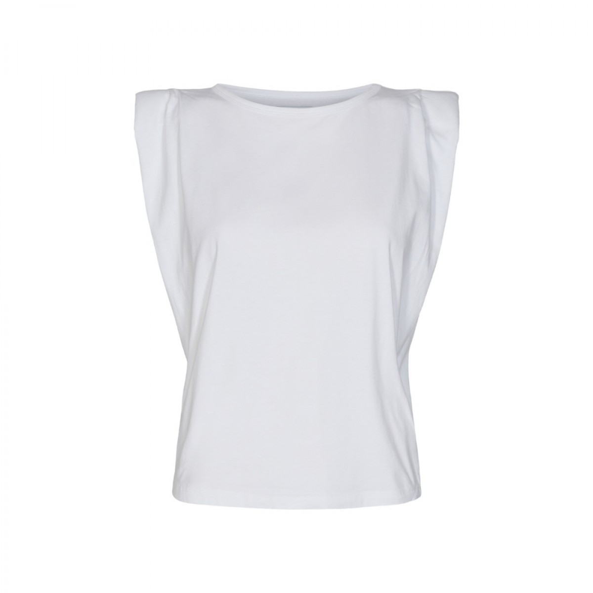 casual shoulder tee - white