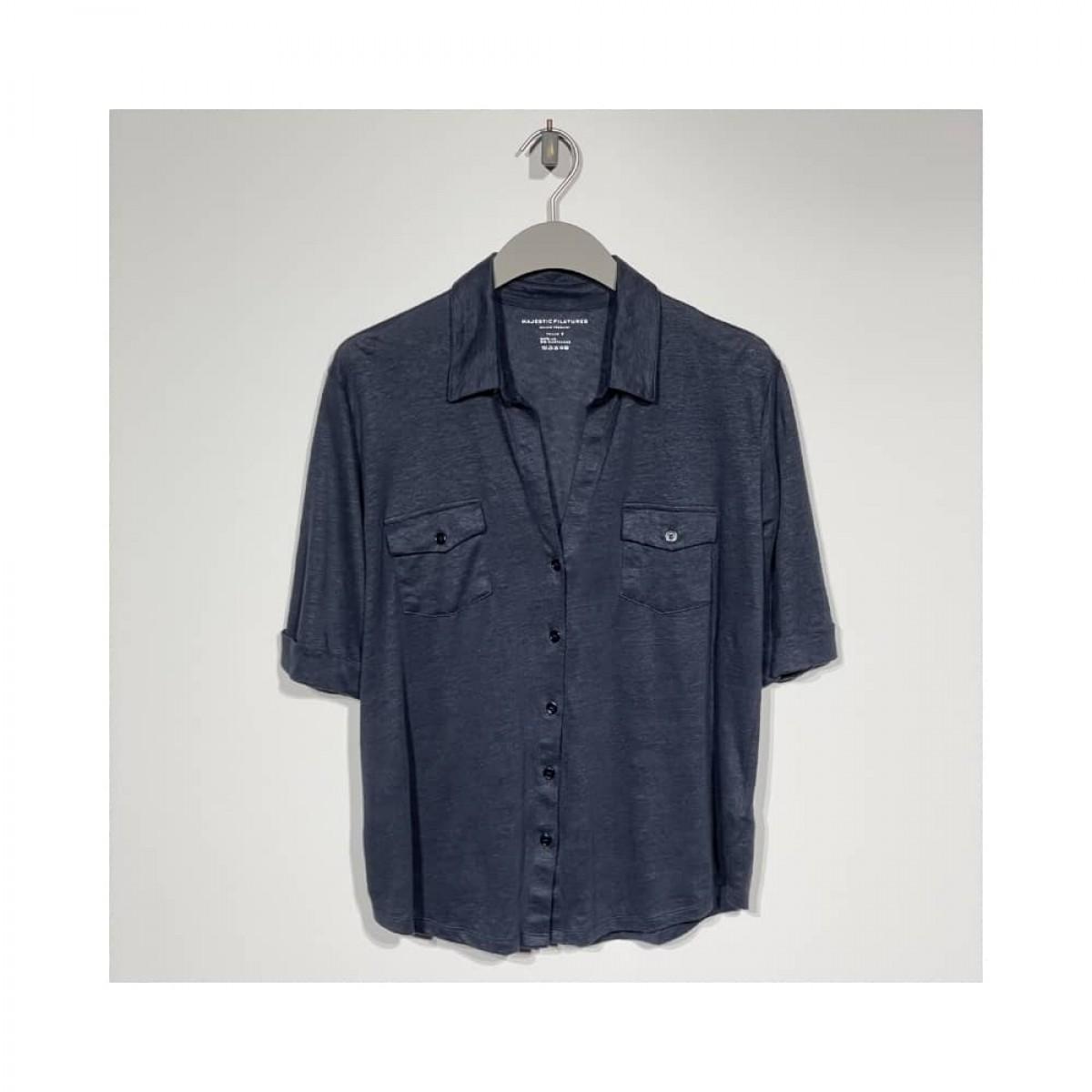 kort ærmet hør skjorte - marine