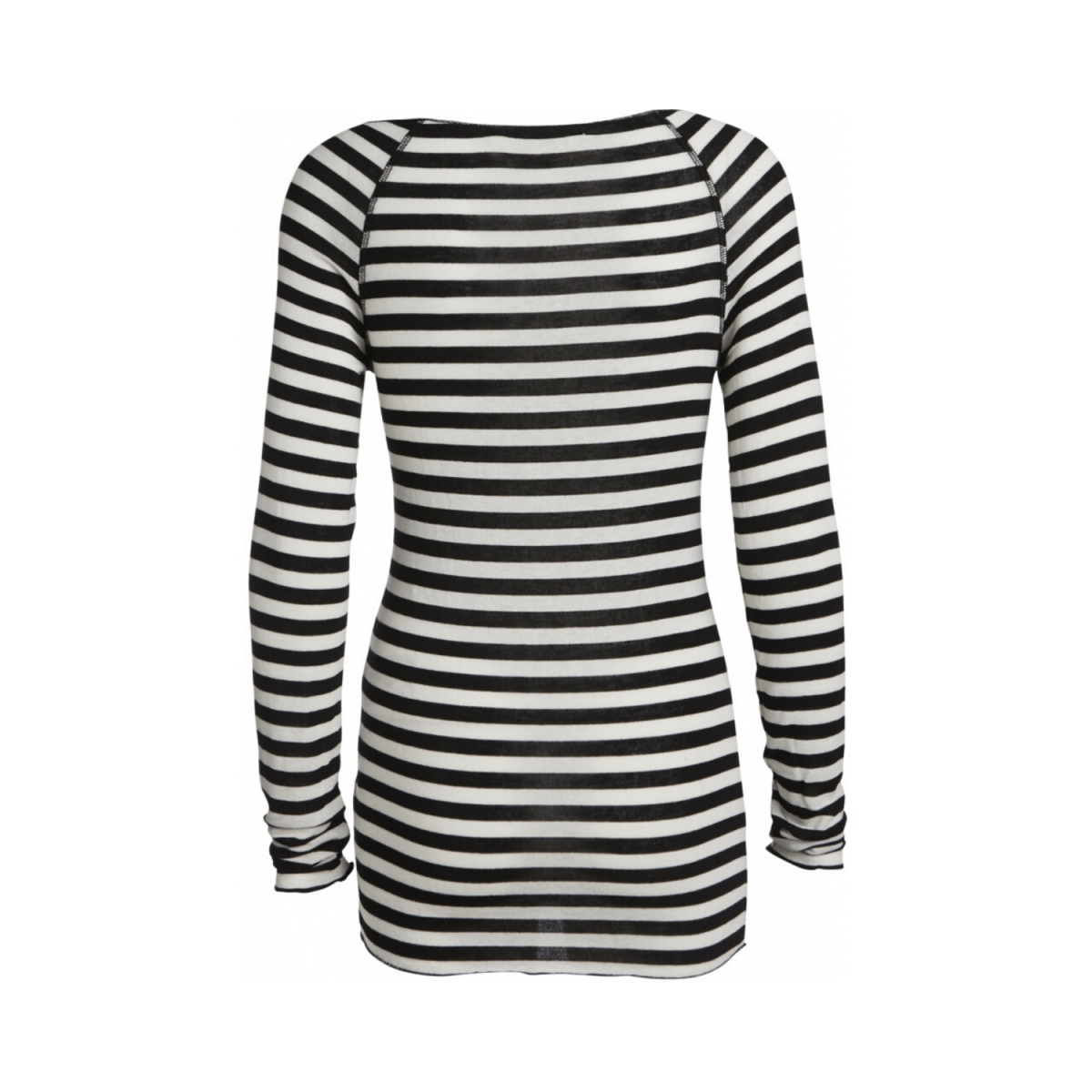 amalie bluse - off white-black - ryg billede