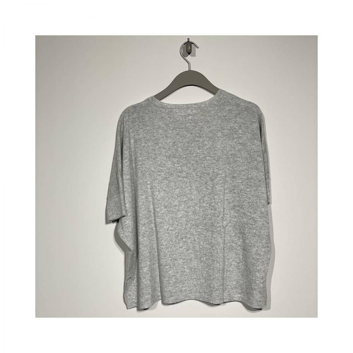 alma strik poncho - light grey melange - bag