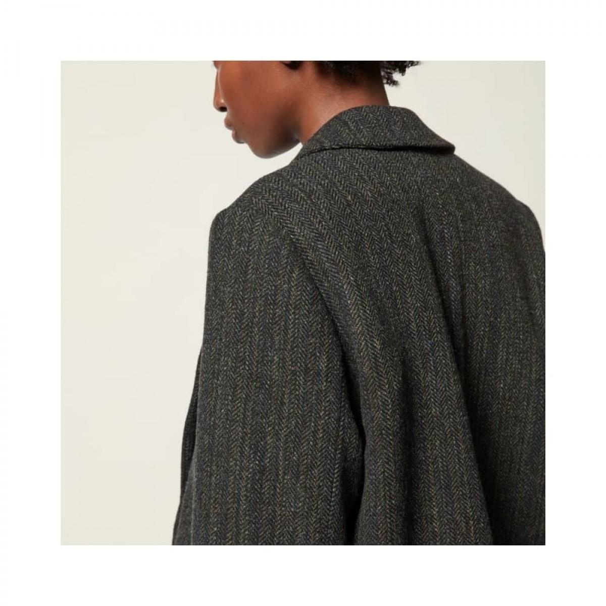 charly blazer jakke - black herringbone - model ryg