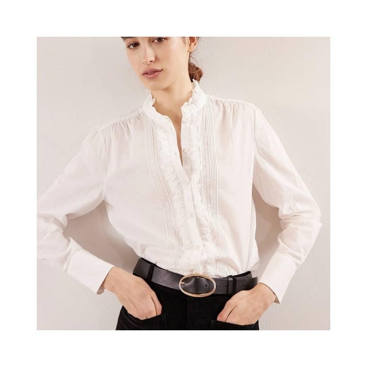 remi skjorte bluse - ecru - model front