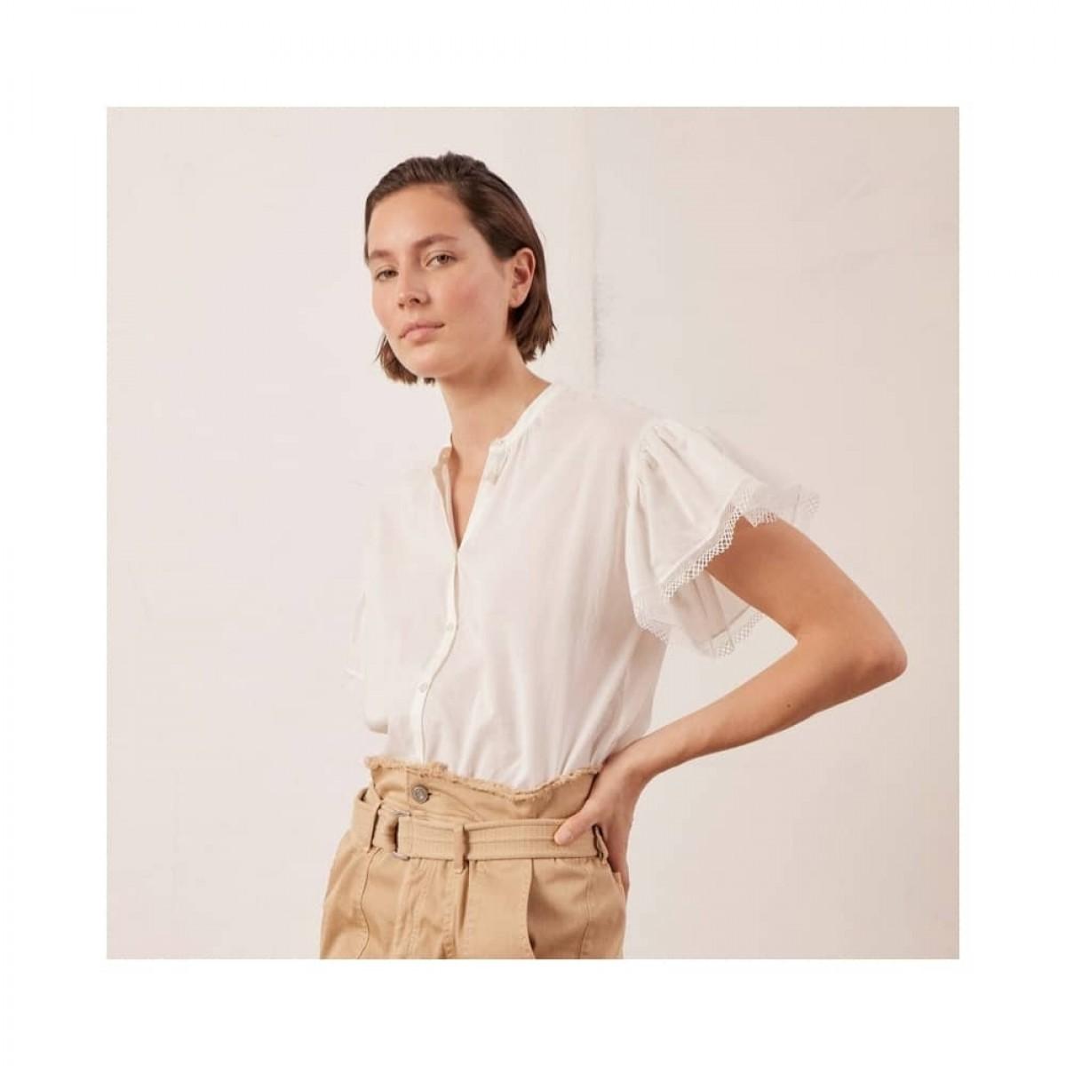 robinson bluse - ecru - model detalje