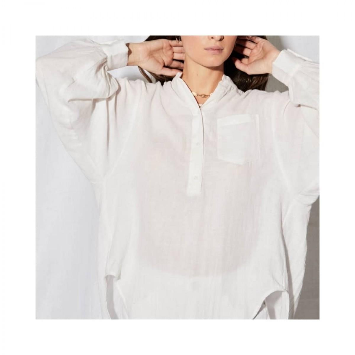 litonya skjorte - white - model lomme detalje