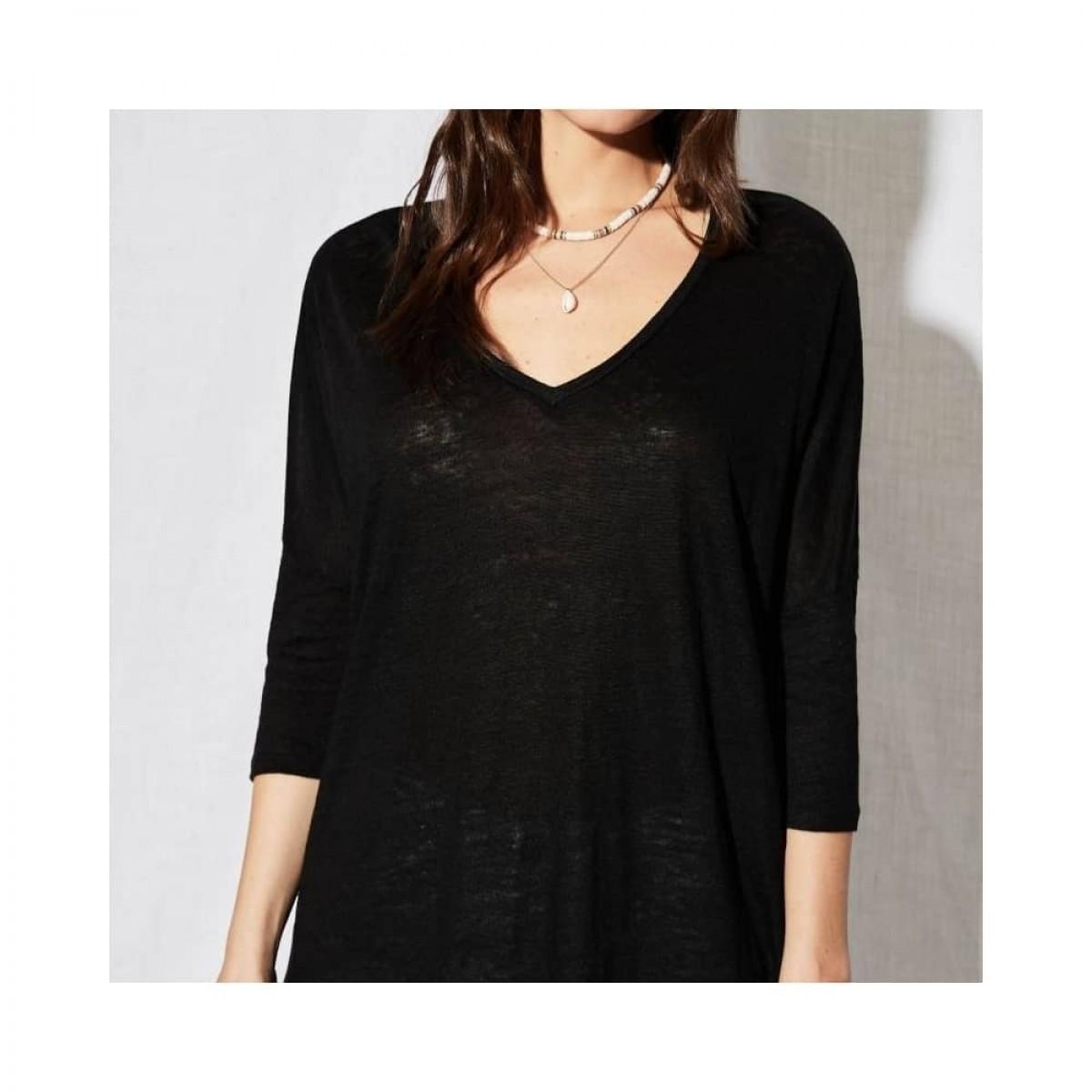 emilie v-hals bluse - black - model v-hals