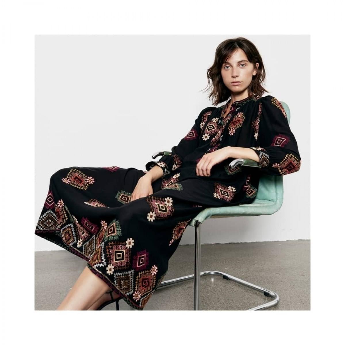 signe embroidered kjole - black