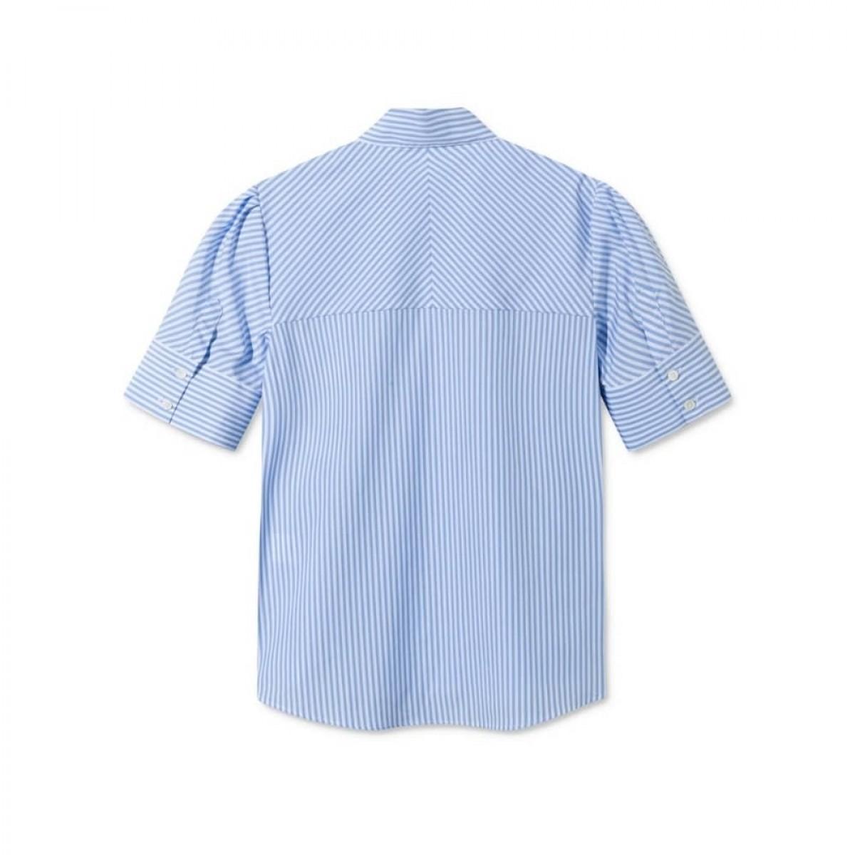 silje kort ærmet skjorte - light blue/white stripe - ryggen