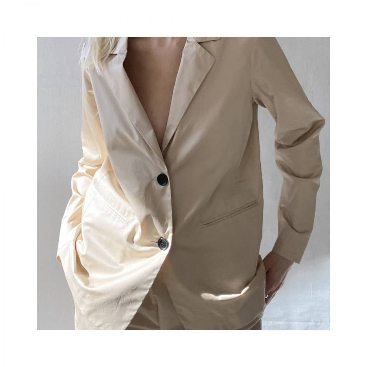 irina jacket - beige - model front