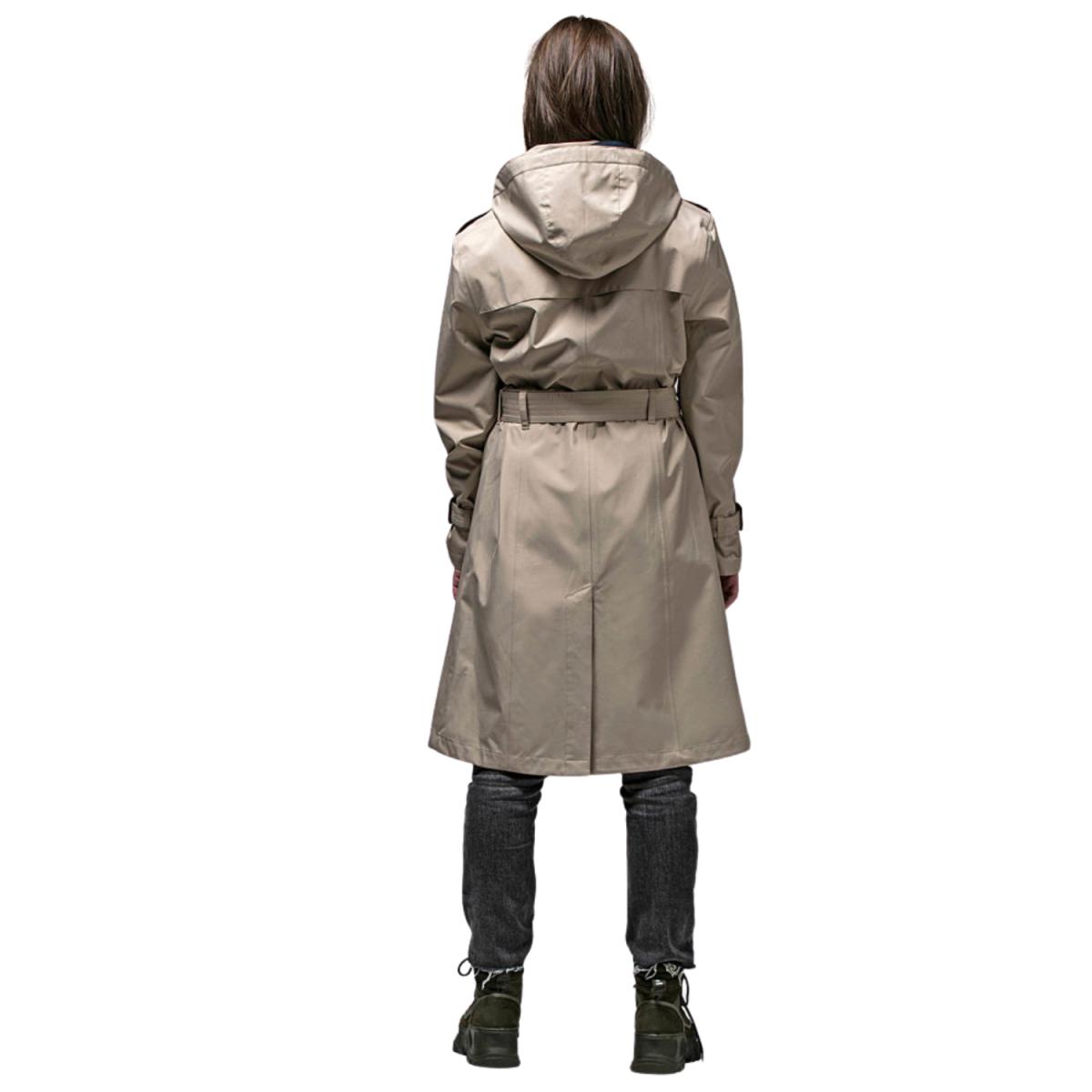 vigra regn frakke beige - model billede - bag