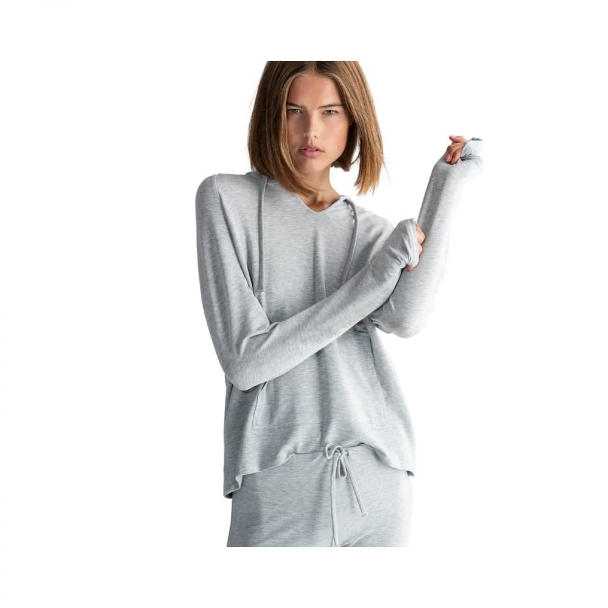 majestic filatures sweat bukser - light grey melange - model front