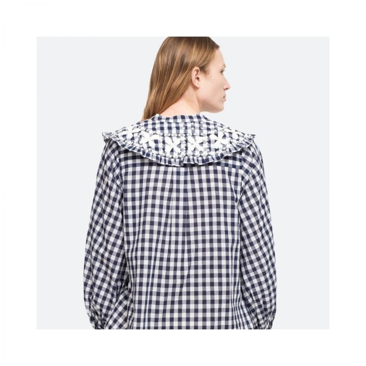 gina gingham skjorte - blue multi - model ryg
