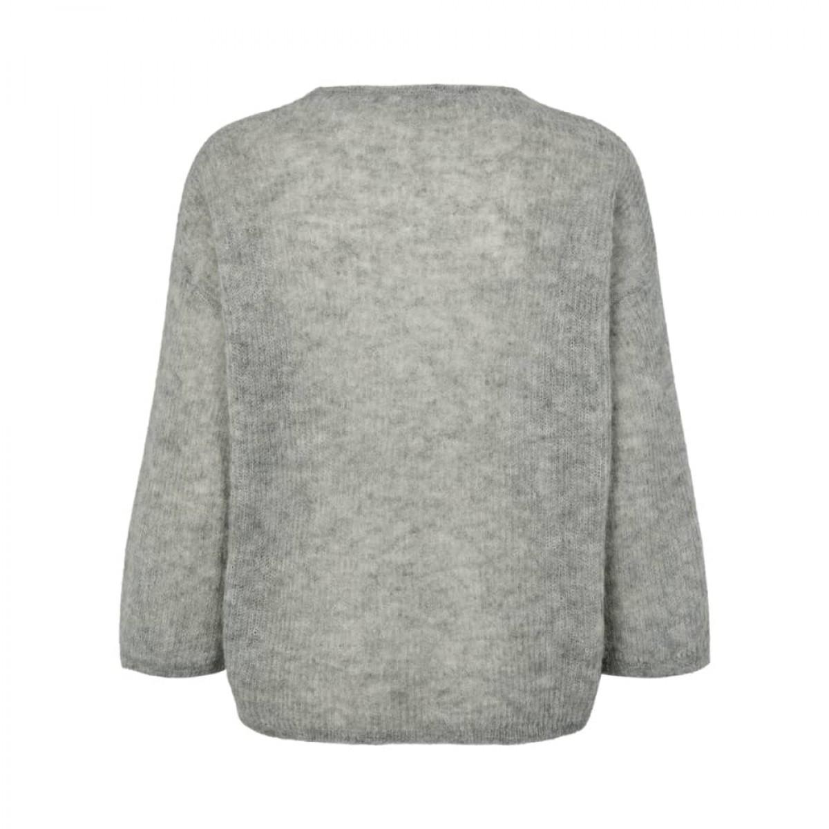 edda strik bluse - grey melange - ryggen
