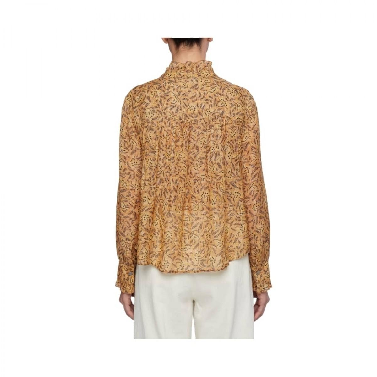 printet pomandére skjorte - camel -model ryg