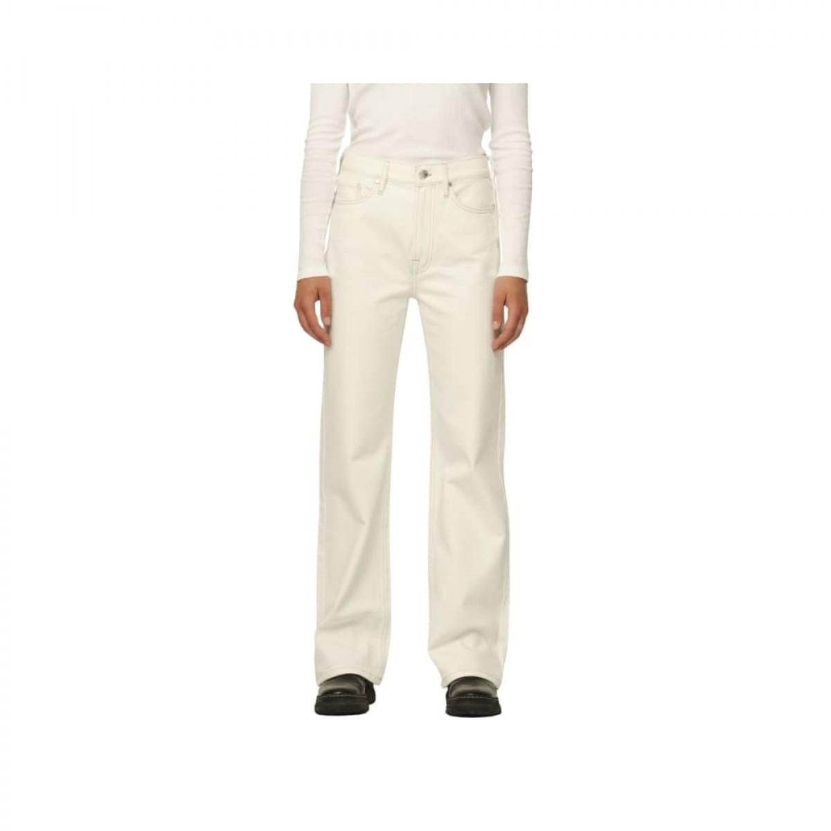 brown straight jeans - ecru - model lomme detalje