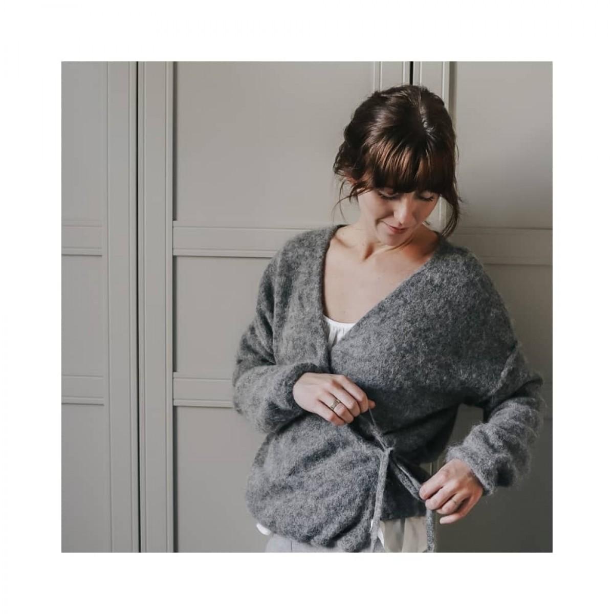 columbine cardigan - dark grey - model indoor