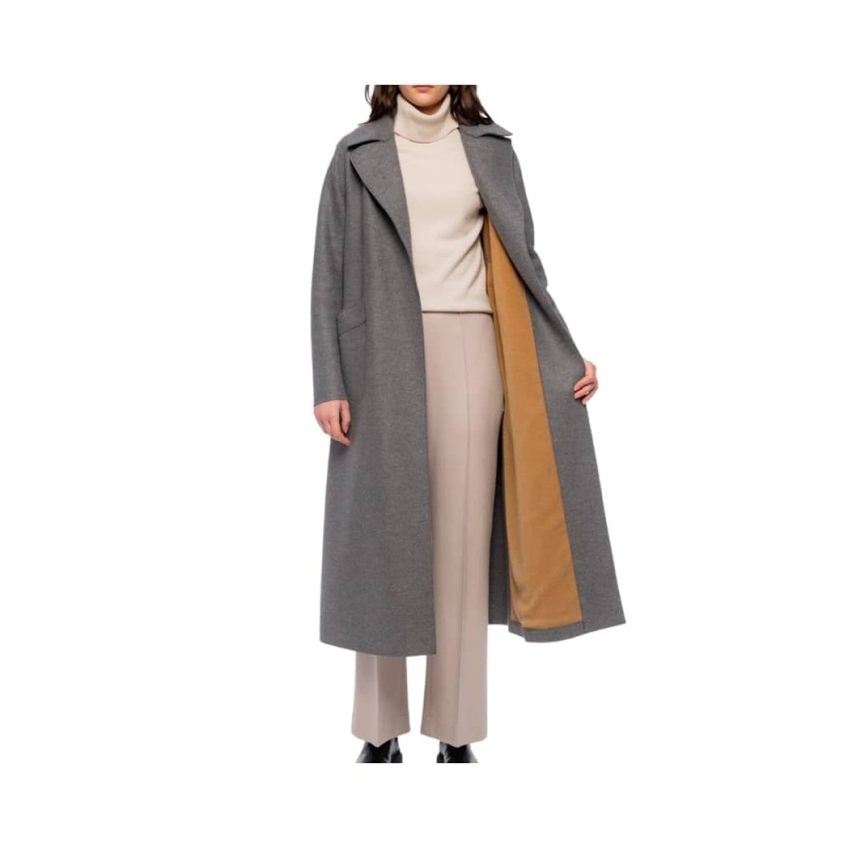 long maxi coat pressed wool - grey melange - model fleece
