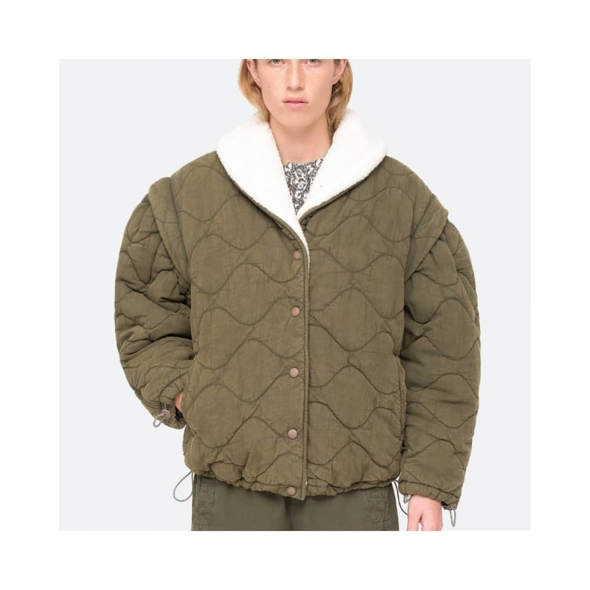 layla quilted jacket - army - model 1