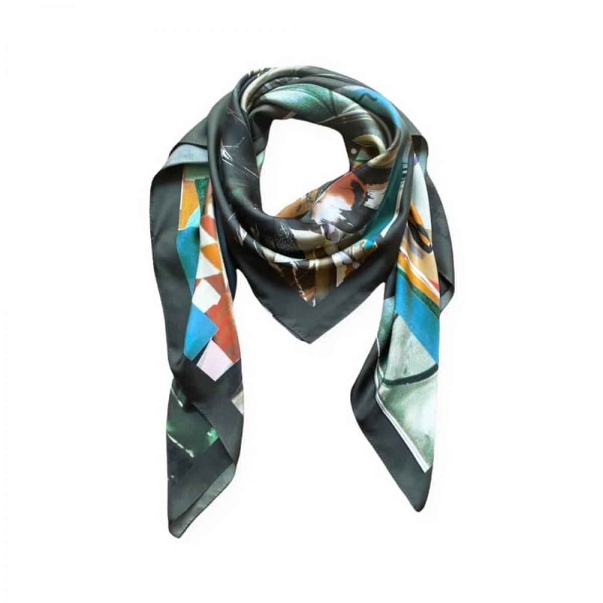icone silke tørklæde - plume doree - print