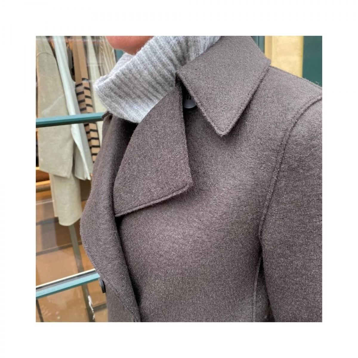 peacoat pressed wool jacket - dark brown - krave