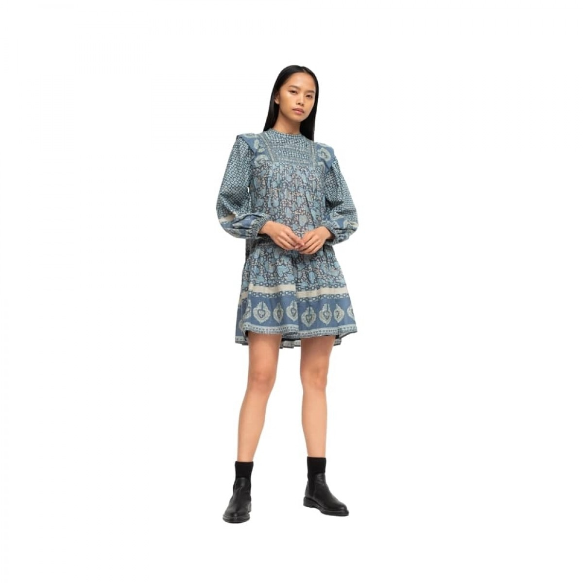 margo border tunic dress - ocean - model front