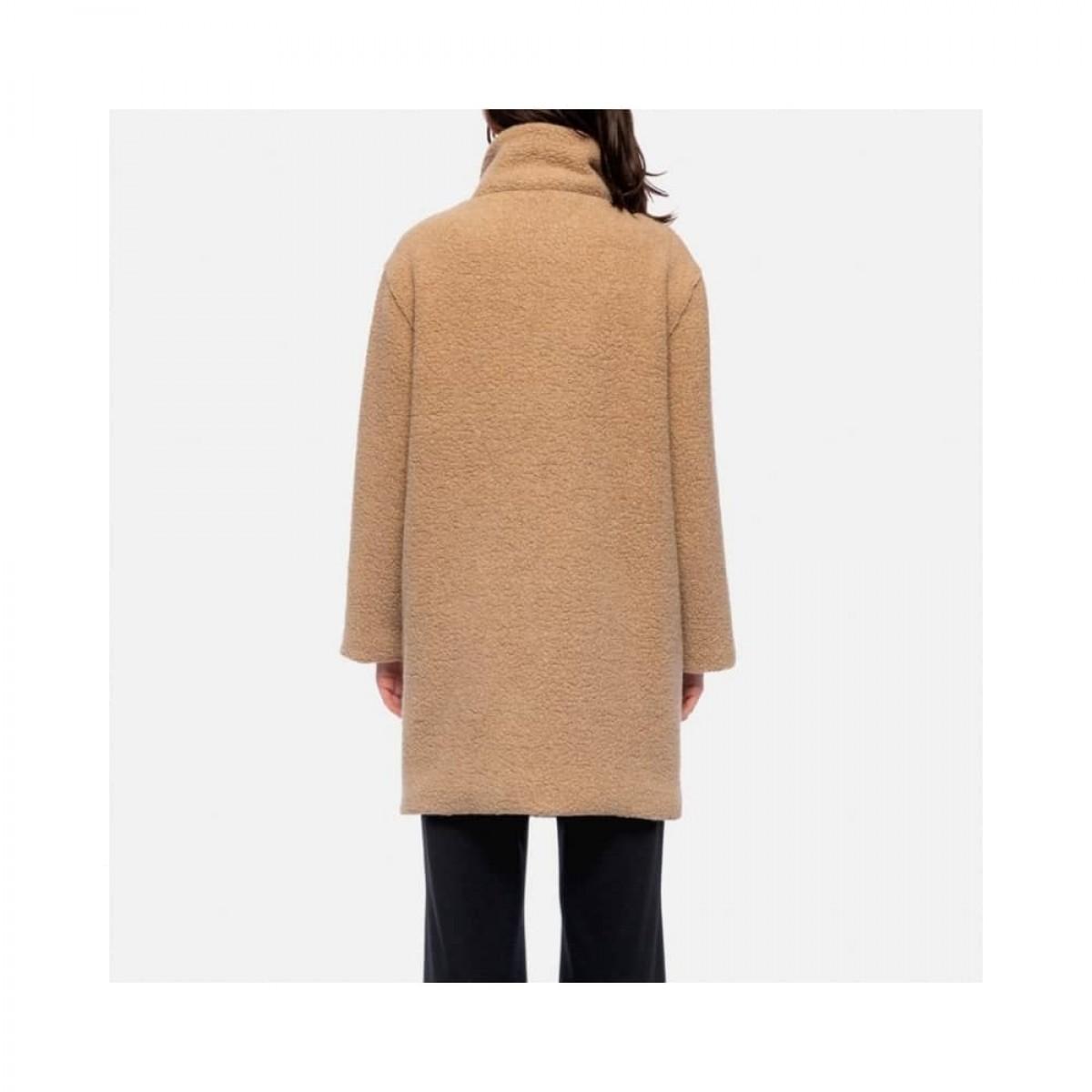 funnel collar coat bouclé - tan - model ryg